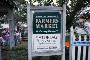Sign for the Matthews Community Farmers' Market