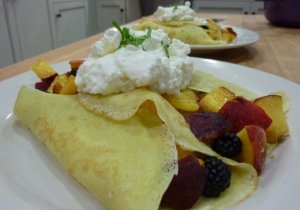Peach & Blackberry-Filled Crepes with Goat Cheese Cream