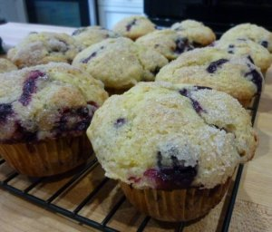 Very Berry Muffins - the version in this photo has blueberries & blackberries