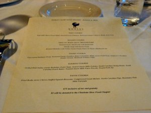 A terrific line-up by Chef David Himmelburger:  the menu for the evening