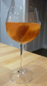 CF's peach sangria - not pretty in this glass, but quite a lovely tastete