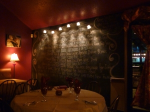 The menu at Passion8 Bistro