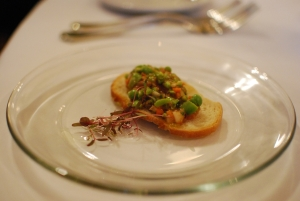 Fava bean bruschetta - a bright start to the meal