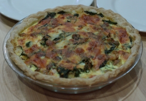 Easy Tomato-Malabar Spinach Quiche