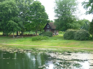 View of the lake on the picturesque farm.