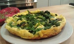 Komatsuna souffled omelette